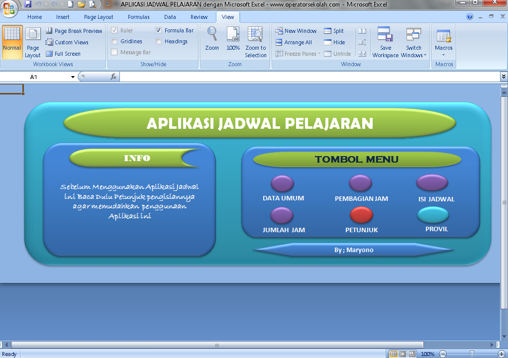 Software Jadwal Pelajaran Aplikasi Excel Free Download