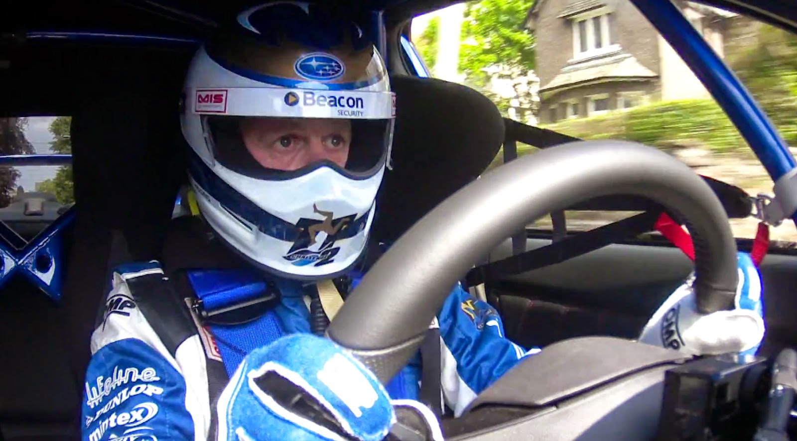 Race Driver inside Subaru WRX STi at Isle of Man TT
