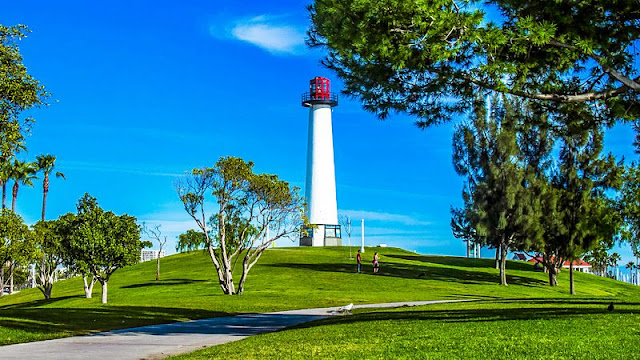 Beauty Scenery of park and light house at Long Beach