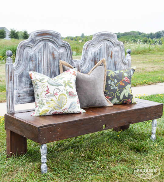 Bench made from an old headboard and reclaimed wood.