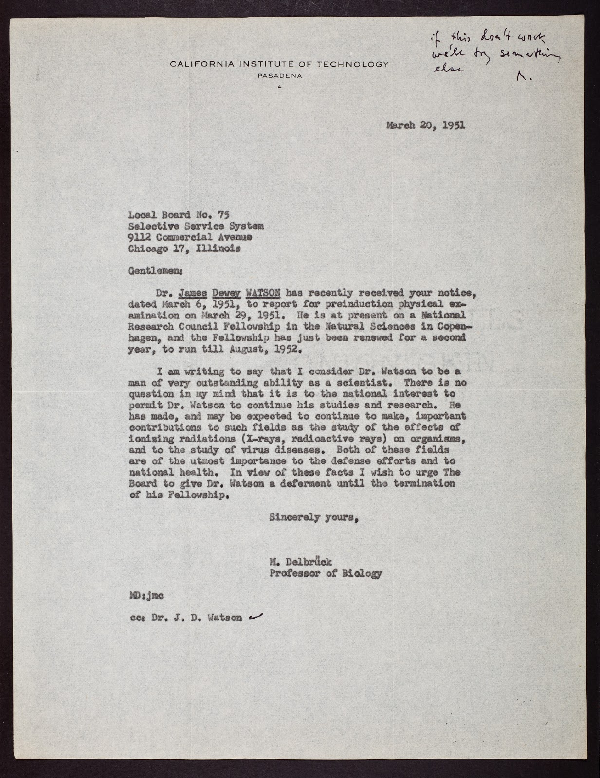 selective service system letter the cshl archives dna letters 1951 1953 24789