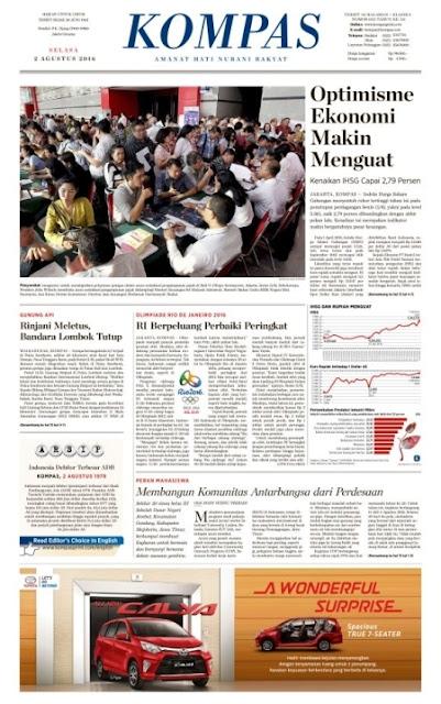 Kompas Edisi Selasa 2 Agustus 2016