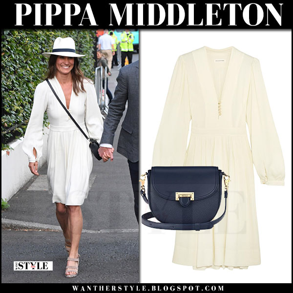 Pippa Middleton at Wimbledon in white dress isabel marant celebrity style july 14 2017