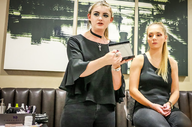 makeup demonstration at urban decay event, debenhams, newcastle