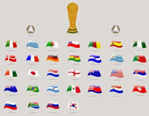 World Cup Qualified Countries Flags