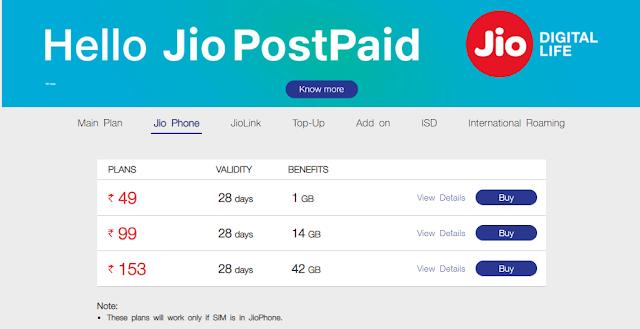 jio phone prepaid plans 99
