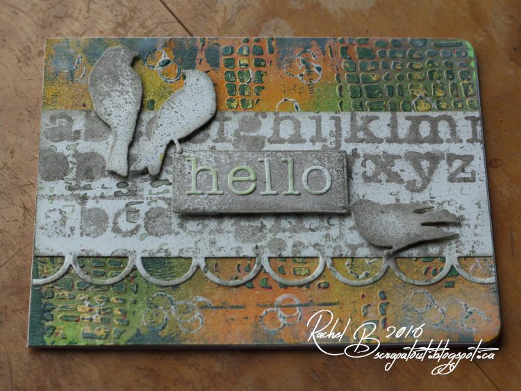 Scrapatout - Handmade card, Hello, Impression Obsession, Birds, Tim Holtz stencil