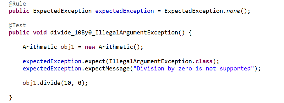 Programming for beginners: Junit: Test exception message