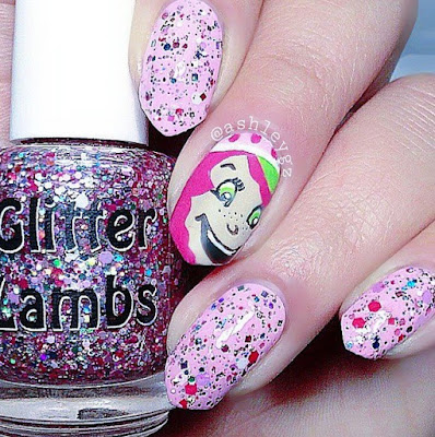 """Strawberry ShortCake"" Glitter Lambs Nail Polish Swatched by @Ashleygz"