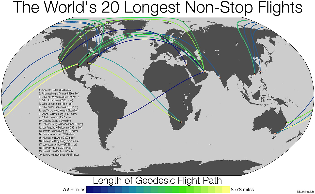 The World's 20 longest non-stop flights