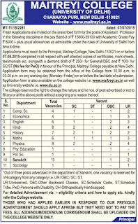 Maitreyi College Vacancy 2015