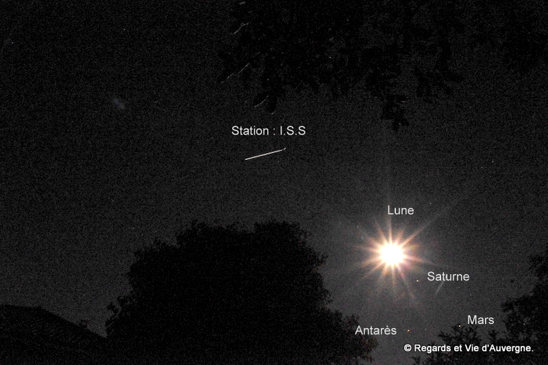 Iss, Lune, Saturne, Mars et Antarès.