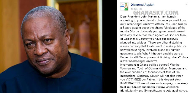 Diamond Appiah warns President Mahama over Obinim
