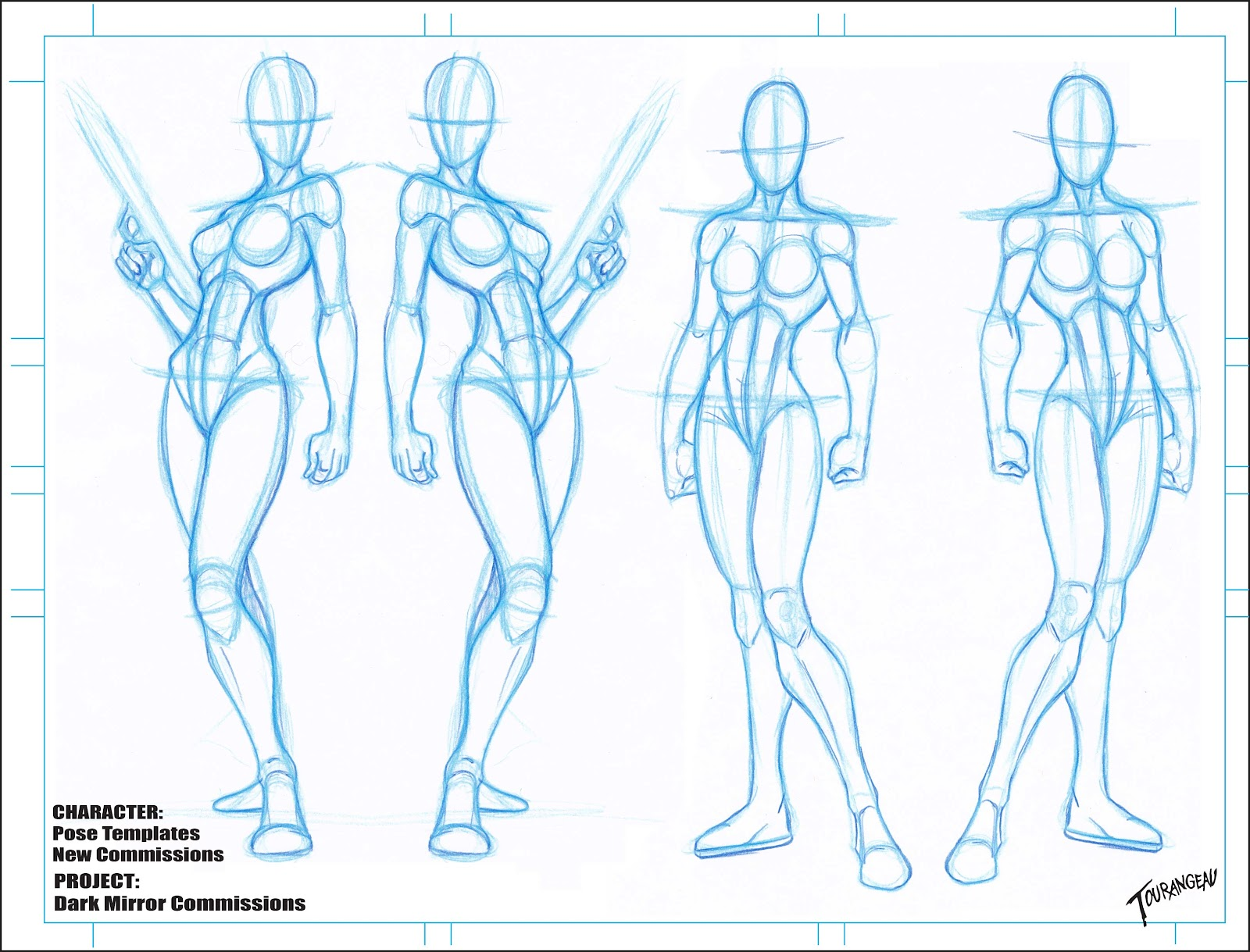 The art of sean tourangeau new character blanks for Manga character template