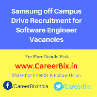 Samsung off Campus Drive Recruitment for Software Engineer Vacancies