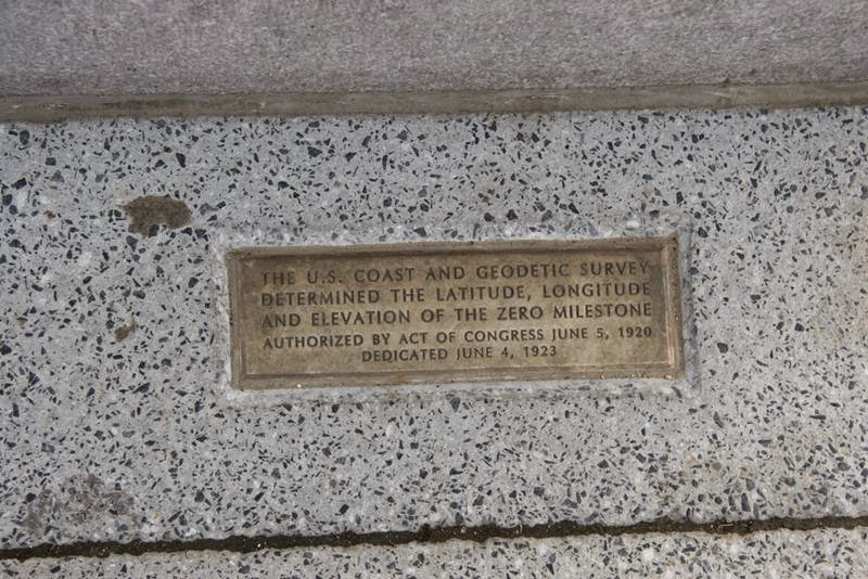 Zero Milestone. Inscription on brass plate embedded on ground near the monument.