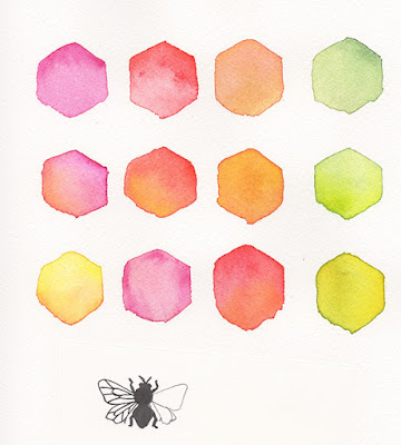 watercolor, sketches, bee, hexagons, process, Anne Butera, My Giant Strawberry