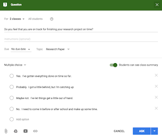 Screenshot from Google Classroom
