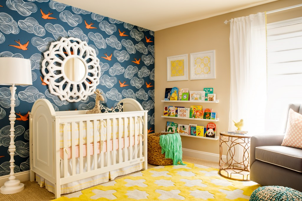 Wandtapete Kinderzimmer Nursery Accent Wall {using Wallpaper}