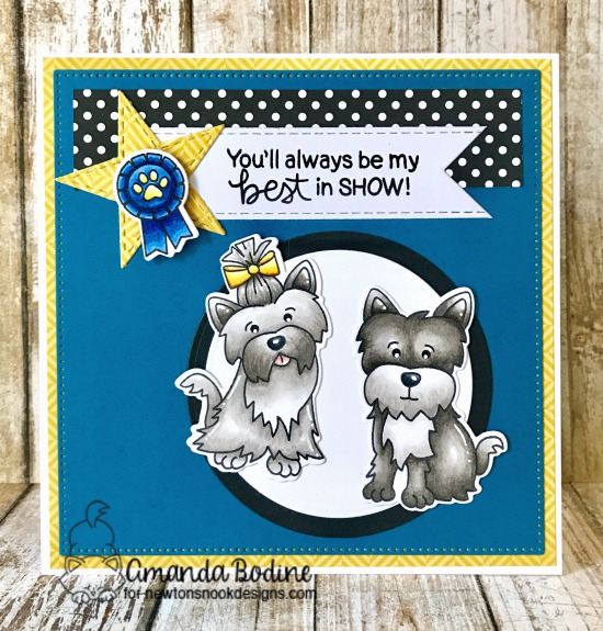 Best in Show Dog card by Amanda Bodine | Terrific Terriers | Dog Stamp Set by Newton's Nook Designs #newtonsnook