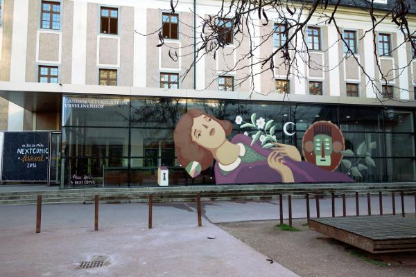 Graffiti von Frau Isa beim NEXTCOMIC-Festival 2016 in Linz