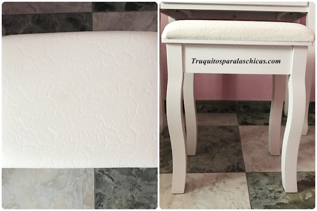 taburete blanco tocador