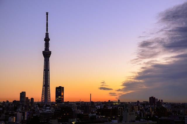Tokyo Skytree, Sumida ward, Tokyo, at dawn.