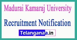 Madurai Kamaraj University Recruitment Notification 2017
