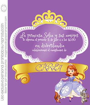 Invitaciones de princesa Sofia para imprimir y editar