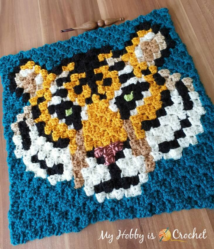 """Tiger c2c Square - Free Crochet Pattern"