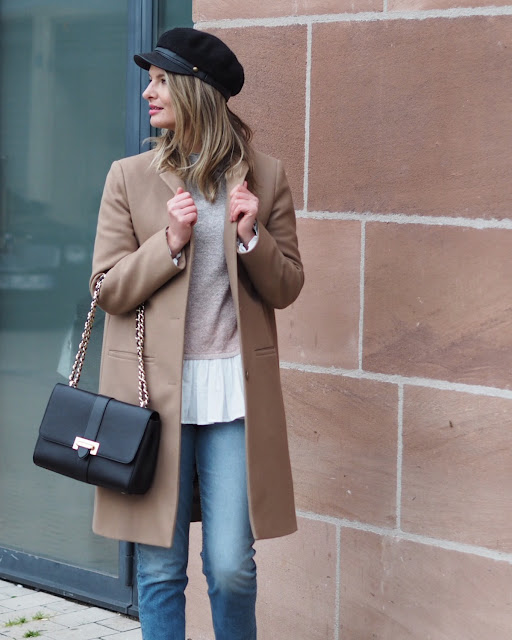 Coast Friday ombre jumper, camel coat, street style, aspinal of London Lottie bag, river island denim
