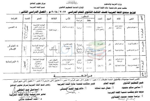 توزيع منهج اللغة العربية للصف الثالث الثانوي الترم الثاني 2018