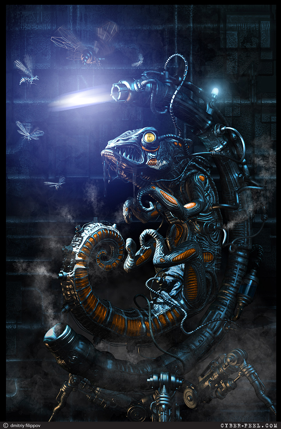 12-Hunting-Dmitry-Filippov-Steampunk-Digital-Art-with-the-Zodiac-www-designstack-co