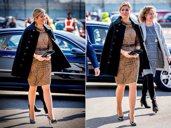 Queen Maxima wore a new Natan Dress and wore Bonebakker jewelry earrings and wore LK Bennett Sledge Patent Leather Platform Pumps