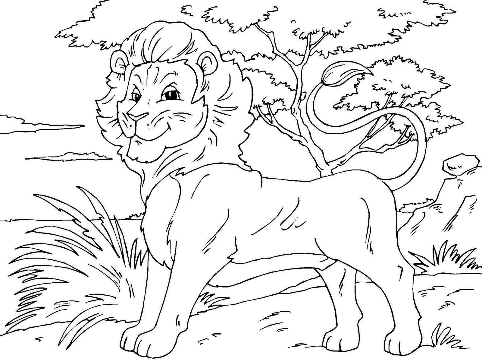 Tranh tô màu con sư tử trong rừng