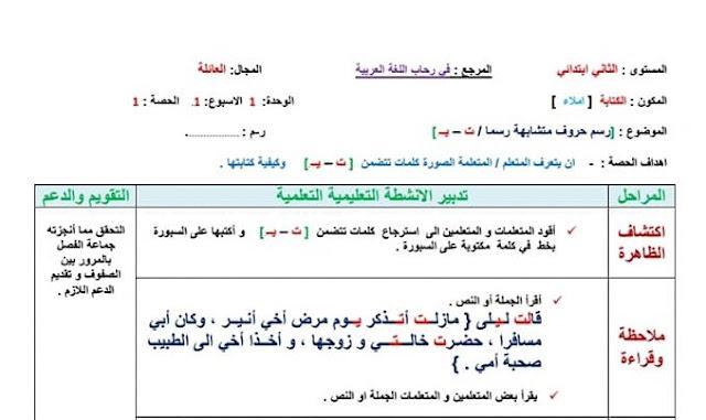 جذاذات الكتابة للمستوى الثاني الأسبوع الثاني من الوحدة الاولى مرجع في رحاب اللغة العربية