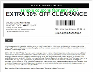 Men's Wearhouse coupons february