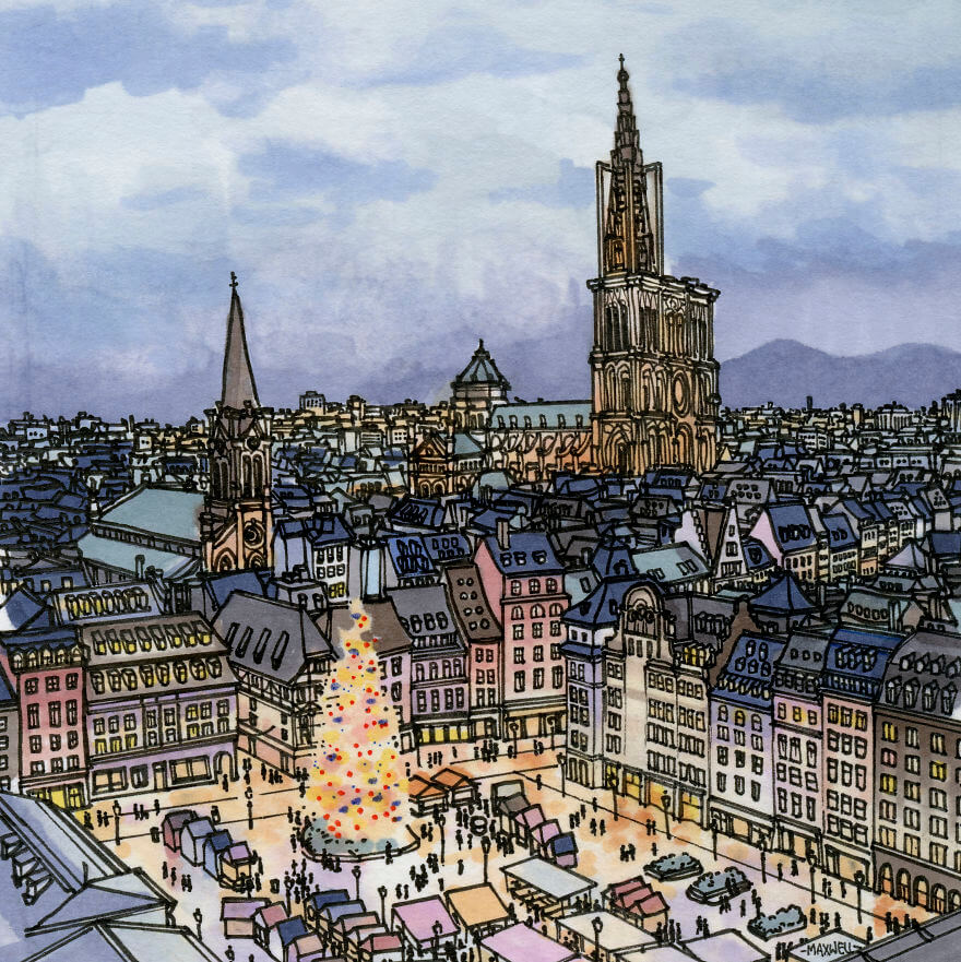 13 Artistic Illustrations Of Famous Places Around The World - Strasbourg, France