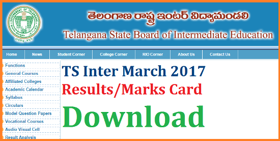TS Inter IPE 2017 Results Download Marks Card @bietelangana.gov.in | Telangana Inter Results Download | Board of Intermediate Telangana State has Anounced IPE-2017 Results and Download Marks Cards | BIE Telangana Released Inter Results aty it Official Web Portal http://bietelangana.gov.in | Download Marks Card/ Marks Memo/ Marks List by Entering your Hall Ticket Number | Telangana Intermediate Results 2017 Checkout here ts-inter-ipe-march-results-marks-card-bietelangana.gov.in-download