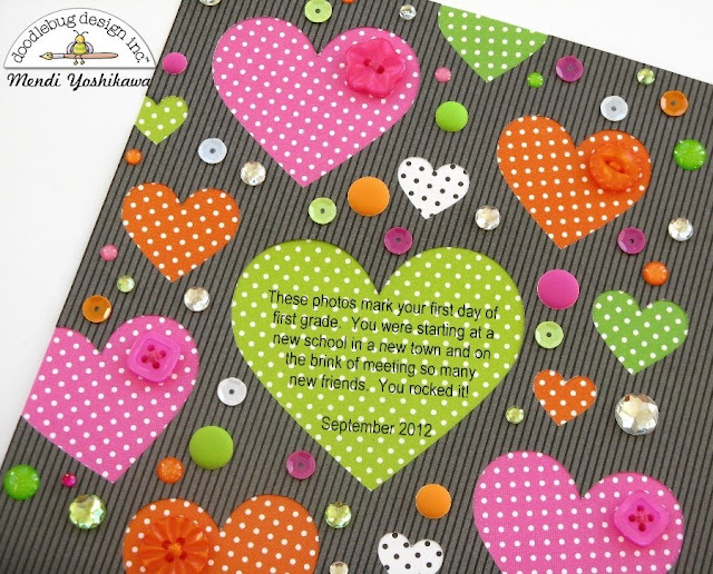 Doodlebug Swiss Dots Cascading Heart Scrapbook Layout by Mendi Yoshikawa