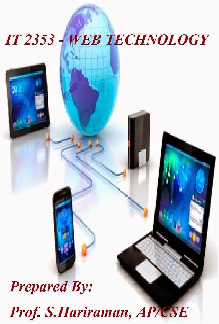 IT2353 - WEB TECHNOLOGY NOTES ~ CSE DEPARTMENT