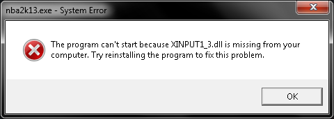 NBA 2K13 PC How to fix the xinput1_3.dll error