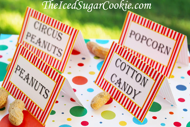 DIY Circus Birthday Party Food Label Tent Cards Printable Digital Download Template-Clown Noses, Monkey Snacks, Lion Snacks, Elephant Snacks, Clown Snacks, Circus Tickets, Acrobats, Circus Cookies, Peanuts, Cotton Candy, Popcorn