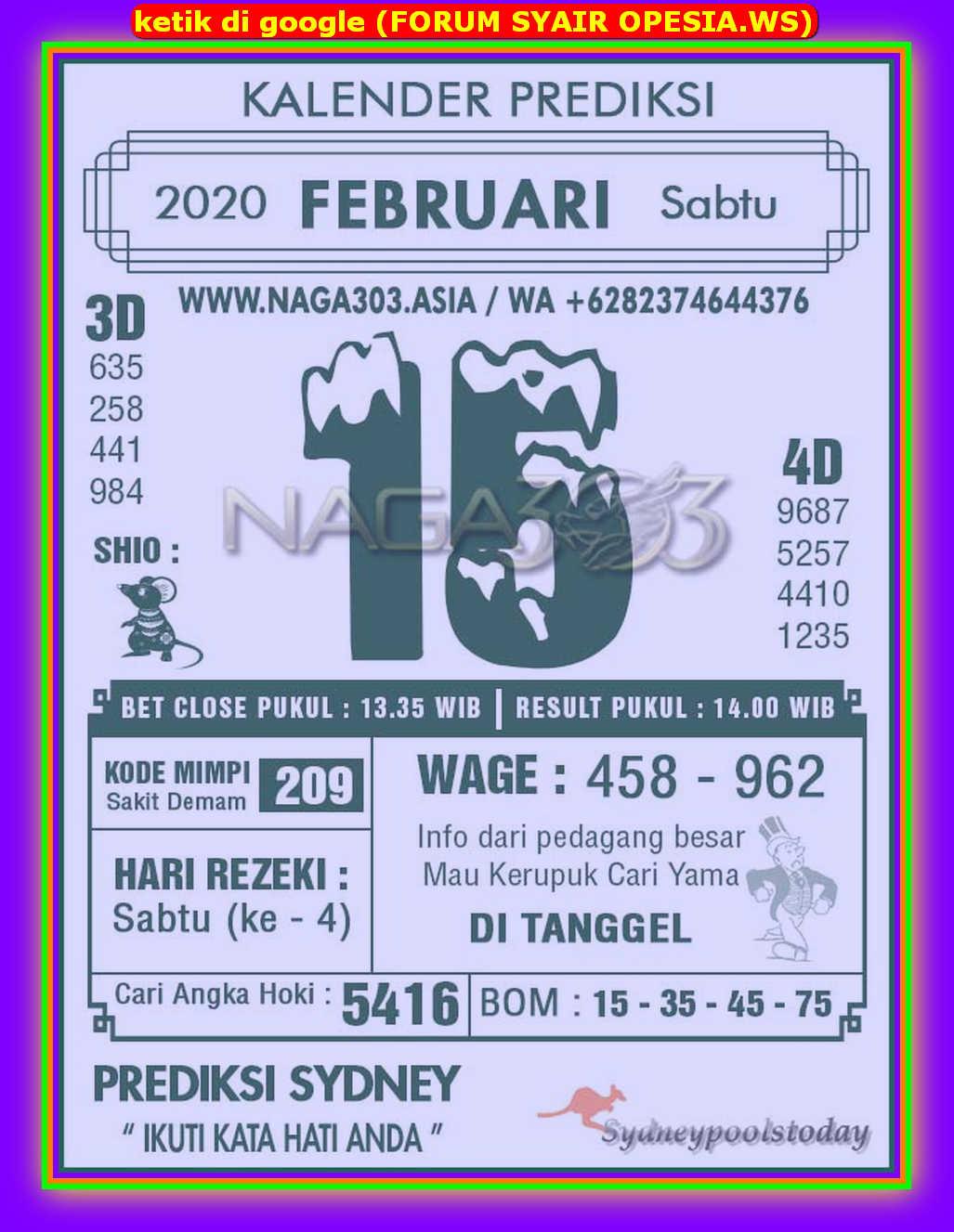 Kode syair Sydney Sabtu 15 Februari 2020 41