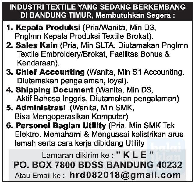 Lowongan Kerja Pabrik Textile Bandung Timur (Rancaekek)