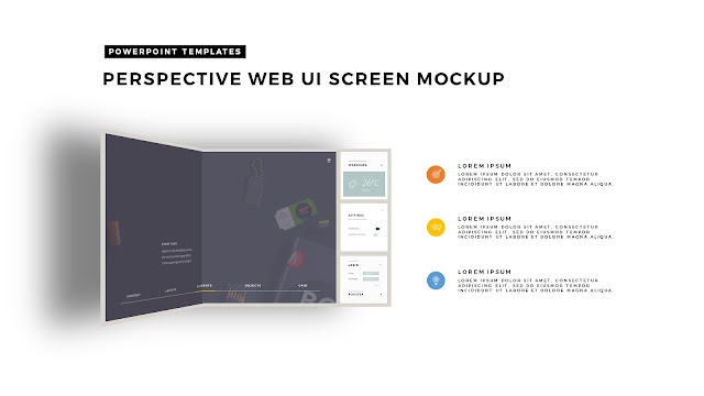 Perspective Folding Effects in Free PowerPoint Template with Grey Folder