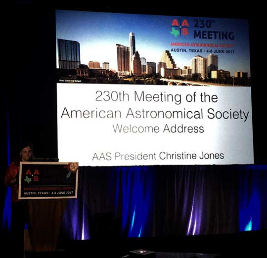 The 230th AAS meeting is kicked of by president Christine Jones