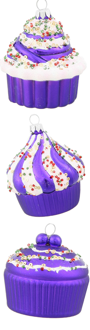 "Vickerman 3"" Cupcake Christmas Ornaments, Pack of 3"