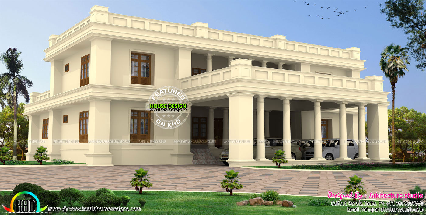 Palace look colonial flat roof home kerala home design for Colonial style house plans kerala