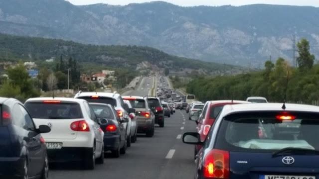 Αυξημένη κίνηση οδό Αθηνών - Κορίνθου από την επιστροφή των εκδρομέων